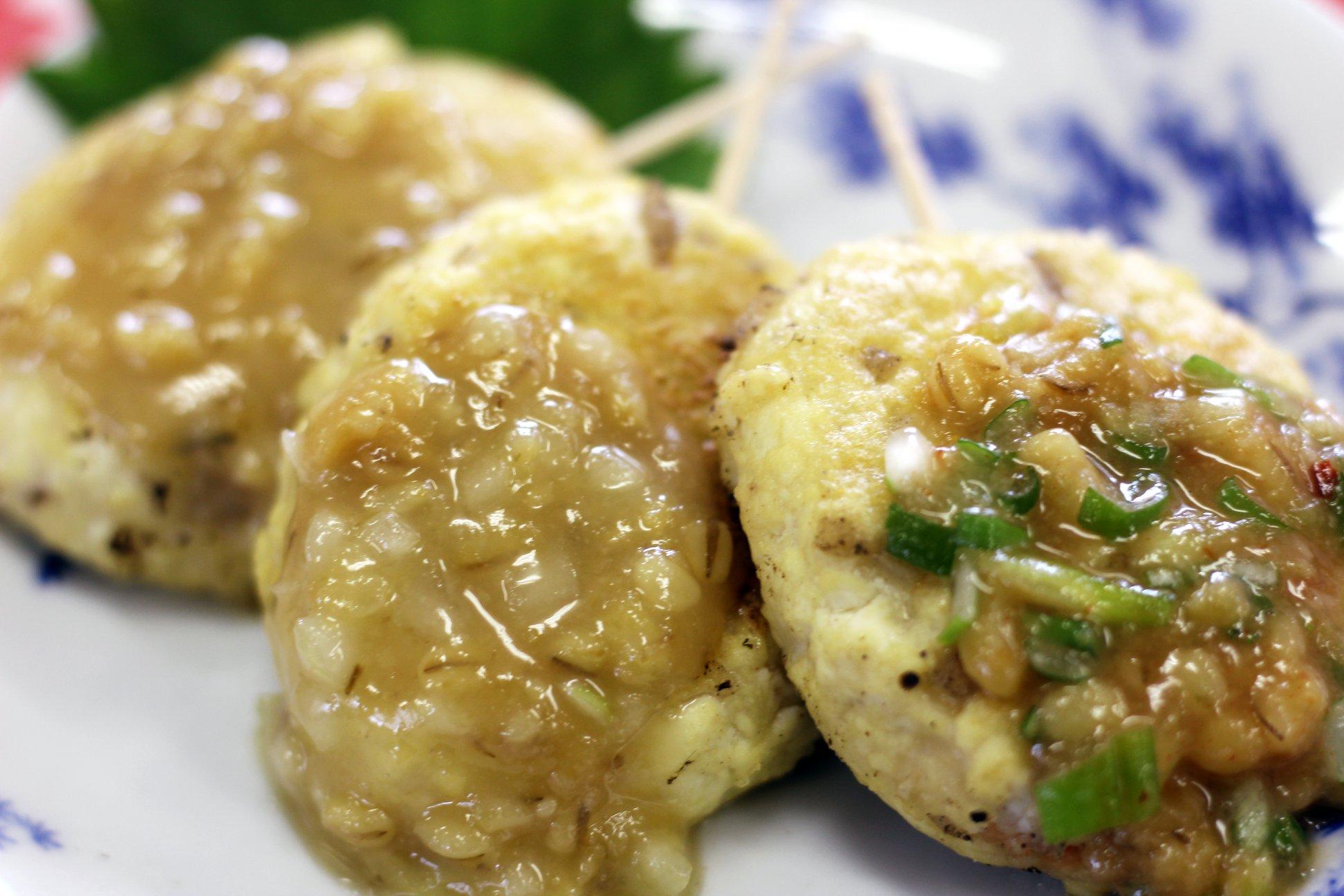7.エビの豆腐つくねとミソの3種ソース